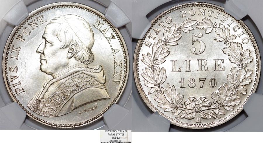 World Coins - Italy. Papal State. Vatican City. Pius IX (1846-1878) AR 5 Lire 1870R (An XXV). NGC MS62