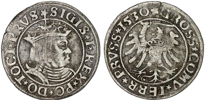 "World Coins - Poland. For Prussia. King Sigismund I ""Old"" (1506-1548). AR Groschen 1530. VF, toned."