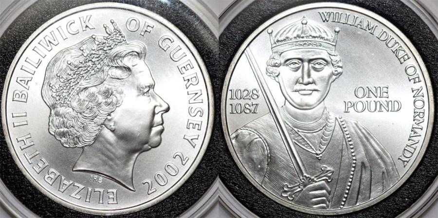 World Coins - Great Britain. Guernsey.  Elizabeth II. AR 1 Pound 2002. William Duke of Normandy. BU