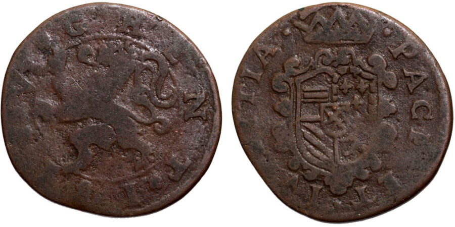 World Coins - Spanish Netherlands. Flanders. City of Ghent rebelled against Philip II (1581-1584). Cu Druit (6 Mites) 1581. VG