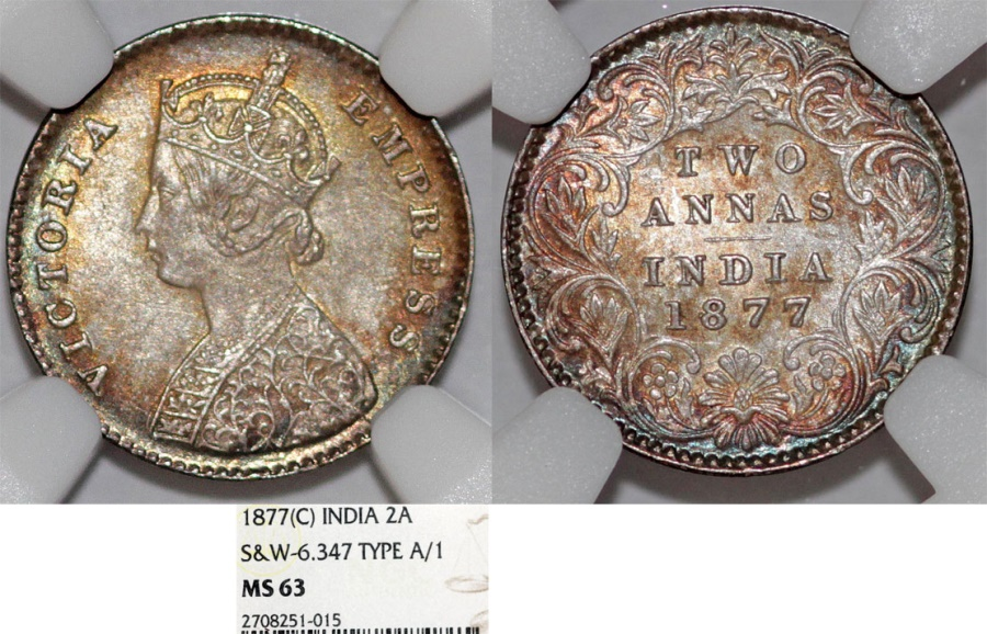 World Coins - British India. Victoria (1840-1901) Silver 2 Annas 1877 C. NGC MS63. toning, good date