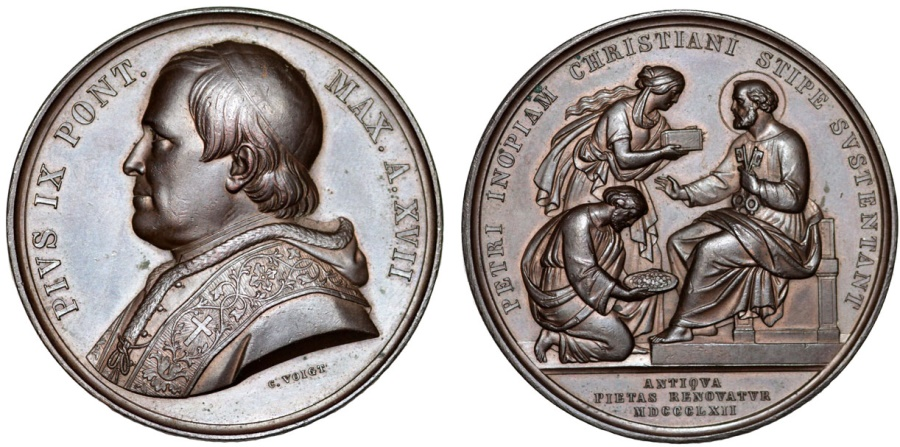 World Coins - Italy. Vatican. Pope Pius IX (1846-1878). Nice Bronze Medal 1862. Choice AU, toned
