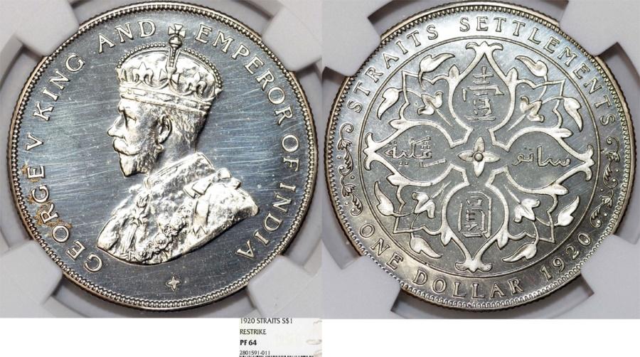 World Coins - Straits Settlements (Singapore/Malaysia). George V (1911-1935). AR Dollar 1920. NGC PF64 ( Restrike)