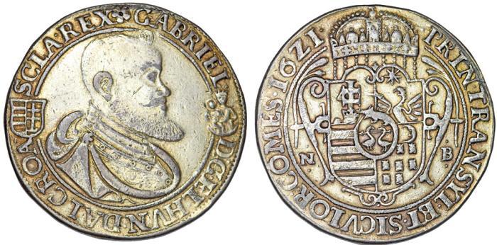 World Coins - Duchy of Transylvania. Gabriel Bethlen (1613-1629). AR Thaler 1621 N-B. Bold Guild, aVF. RARE!
