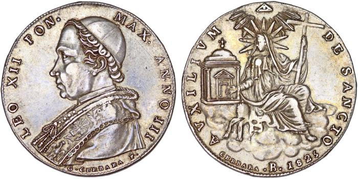 World Coins - Papal States. Bologna. Pope Leo XII (1823-1829). AR Scudo 1825 (ANIII). Nice XF.