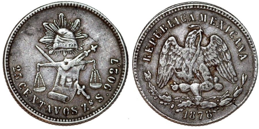 World Coins - Republic of Mexico.  AR 25 Centavos 1878 Zs-S. XF, toned
