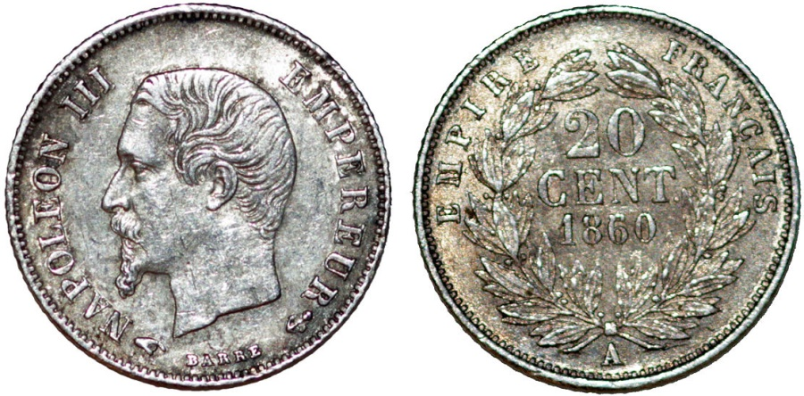 World Coins - France. Napoléon III (1852-1870). AR 20 Cents 1860/50A. Choice XF, toned.