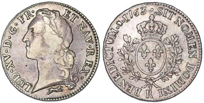 World Coins - France. King Louis XV, 1715-1774. Silver ECU 1763 R. Nice VF, scarce.