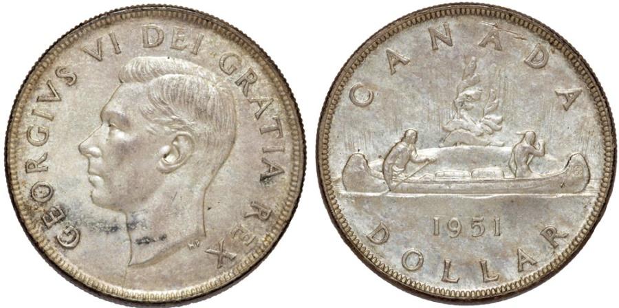 World Coins - Canada. Commonwealth king George VI. Silver Dolalar 1951 HP. AU/UNC