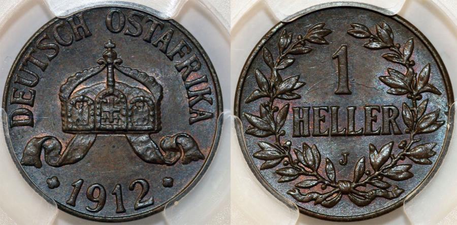 World Coins - Germany East Africa. Wihelm II. AE 1 Heller 1912J. PCGS MS64BN