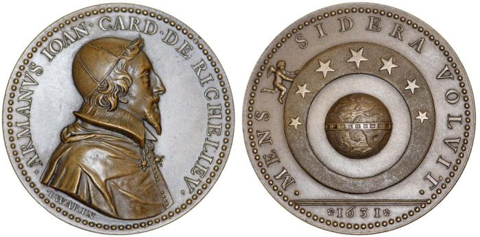 World Coins - France.  Cardinal Richelieu. Commemorative restrike of Tribute Medal 1631, by Jean Warin (1606-1672). UNC
