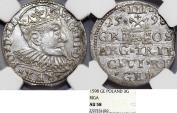 World Coins - Poland. (Livonia) Riga. Sigismund III (1587-1632). Silver 3 Gross - Trojak 1598 GE. NGC AU58