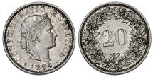 World Coins - Switzerland. NI 20 Rappen 1884. Nice XF