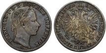 World Coins - Austian Empire. Franc Josef I (1848-1916) Silver Florin 1860A. Toned XF