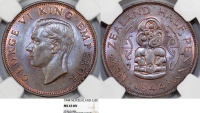 British Commonwealth: New Zealand. Half Penny 1944. NGC MS63 BN.