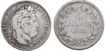 World Coins - France. Louis Philippe I. Silver 5 France 1833 W. Fine+