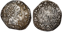 World Coins - Italy. Naples under Spain. Filippo II as King of Spain and Naples (1556-1598). RARE Carlino ND. Good  VF