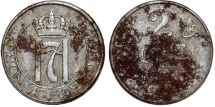 World Coins - Norway. Hakon VII (1907-1952-1907). Steel 2 Ore 1918. VF, rare