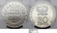 "World Coins - Poland. Nickel Pattern ""PROBA"" 20 zl 1974 MW. 25 years of RWPG. NGC MS66"