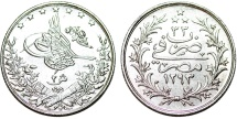 World Coins - Egypt. Abdul Hamid II. AR 2 Qirsh (AH1293//33H) (1907). UNC