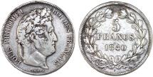 World Coins - France. king Louis Philippe (1830-1848). Silver 5 Francs 1840 BB. VF, cleaned