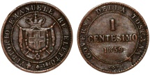 World Coins - Italy. Tuscany. Provisional Government. CU 1 Centesimo 1859. VF
