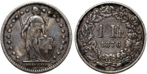 World Coins - Switzerland. Federation. AR 1 Franc 1876. aVF