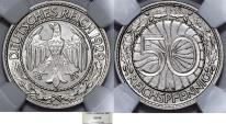 World Coins - Germany. Waimar Republic. 50 Reichspfennig 1929 A. NGC MS64