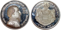 "World Coins - Monaco. Prince Rainier III. Silver Medal ""100th years of Monte Carlo"" 1966. UNC, Proof Strike"