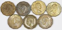 World Coins - Great Britain. Lot of 7 Coins: Octagonal 3 Pence 1937-1966. AU/UNC