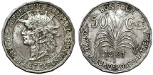 World Coins - Guadeloupe. French Colony Issue. CuNi 50 Centimes 1921. aVF
