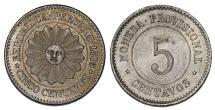 World Coins - Peru. Provisional Government. CU-NI 5 Centavos 1879. XF/ AU