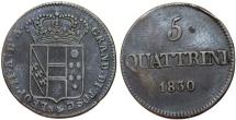 World Coins - Italy. Tuscany. Leopold II. CU 5 Quattrini 1830. Choice VF