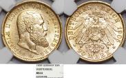 World Coins - German States Wurttemberg. Wilhelm II. Gold 20 Mark 1905-F. NGC MS61.