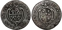 World Coins - Swiss Cantons. Sitten. City of Valais. Franz Friedrich Ambüel (1760-1780).  Bi 6 Kreuzer 1777. aVF, toned