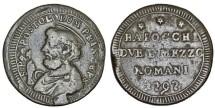 World Coins - Italian Papal States. San Severino. Pope Pius VI (1775-1799). AE 2 1/2 Baiocchi 1797. aVF, RARE