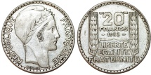 World Coins - France. Republic. Silver 20 Francs 1933. XF