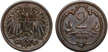 World Coins - Austria. Franz Joseph I. BRZ 2 Heller 1910. Choice XF