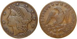 Us Coins - USA. 1800's Bronze Gaming token in form of USA Liberty head Cent ( SPielmarke). Fine+/VG