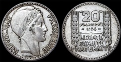 World Coins - France. Republic. Silver 20 Francs 1934. CHOICE XF