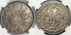 World Coins - Mexico. Republic. AR 8 Reales 1856 Mo-GF. NGC AU58, toned, nice piece, better date