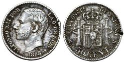 World Coins - Spain. Alfonso XII. AR 50 Centimes 1885 M . XF