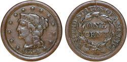 Us Coins - USA. Braided Hair Cent 1854. VF+