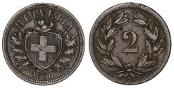 World Coins - Switzerland. AE 2 Rappen 1851. VF