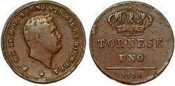 World Coins - Italy. Ferdinando II. CU 1 Tornese 1858. VF