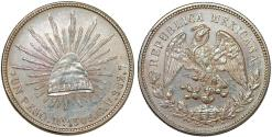 World Coins - Mexico. Republic. AR Peso 1908 Mo AM. Nice AU
