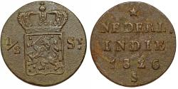 World Coins - Netherlands East Indies. Kingdom. Island of Sumatra. AE 1/2 Stuiver 1826 S. VF+.