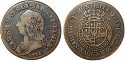 World Coins - Italian States. Sardinia. House of Savoy. Carlo Emanuele III. Silver Mezzo Scudo 1755. about VF, toned