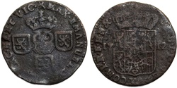 World Coins - Spanish Netherlands. Namur. Phillip V. Cu Liard 1712. Fine