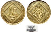 World Coins - Germany. Wurzburg. Adam Friedrich von Seinsheim (1755-1779). RARE Gold Dukat 1774. NGC MS62